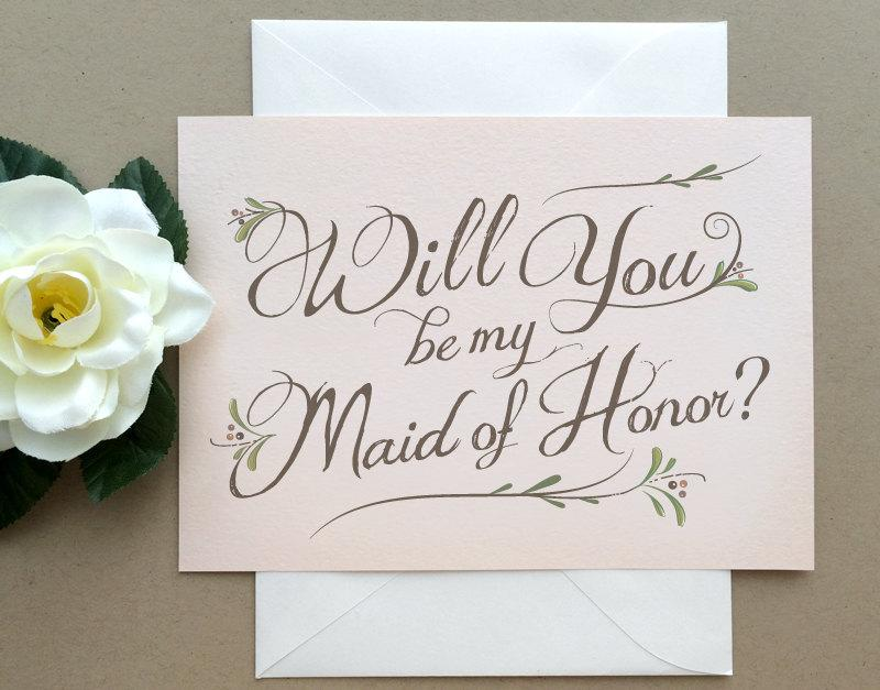 Wedding - Maid of Honor Card -  Blush Pink Will You Be My Maid of Honor Card Matron of Honor - Country Chic Blush Pink Rustic Card