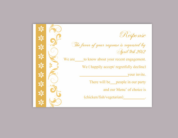 Wedding - DIY Wedding RSVP Template Editable Text Word File Download Rsvp Template Printable RSVP Cards Gold Rsvp Card Elegant Rsvp Card