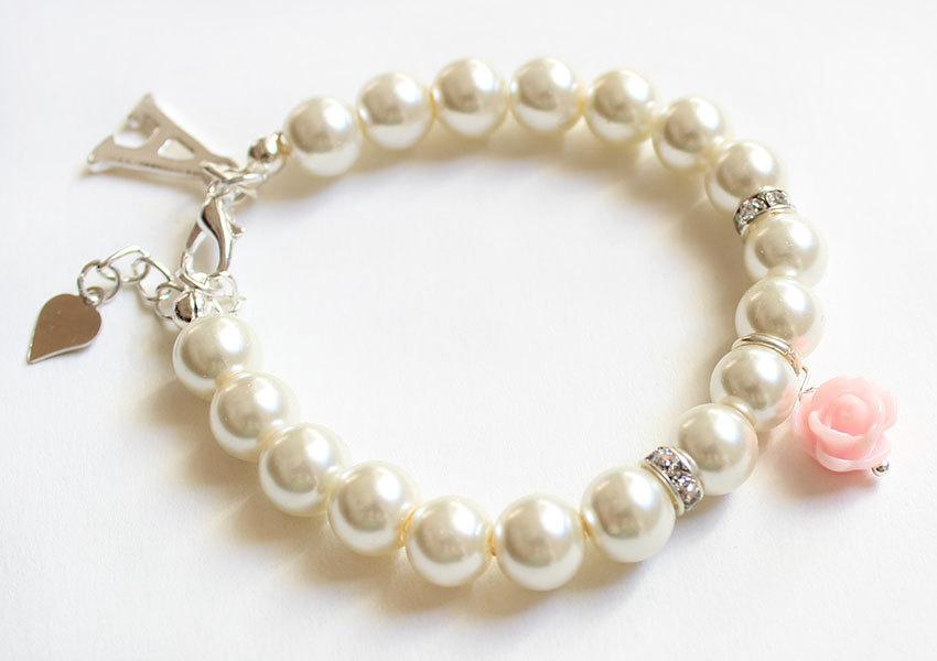 Personalized Flower Bracelet Wedding Gift Party Pearl