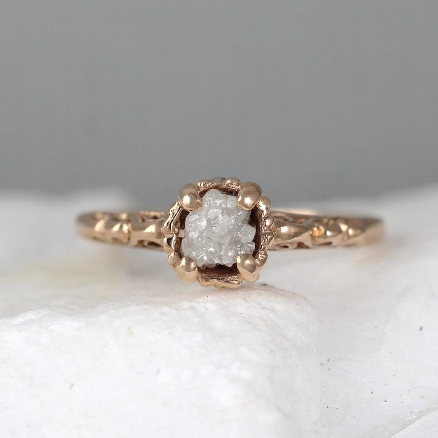 Rose Gold Antique Style Raw Diamond Engagement Ring  14k Pink Rose Gold   April Birthstone Rings  Uncut Rough Raw Gemstone Rings