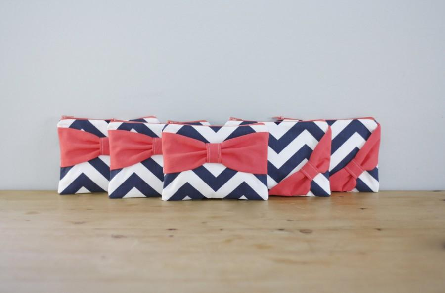 Hochzeit - Bridesmaid Gift Set / Bachelorette Party Favors - Navy Chevron Coral Bow - Wedding Cosmetic Cases - Customizable Quantity and Bow Style