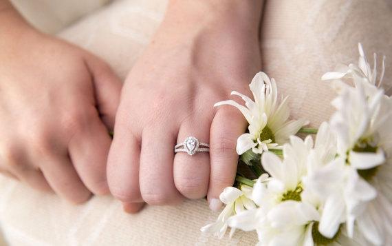 Pear Cut Halo Engagement Ring Promise Ring Wedding Ring Split Shank S