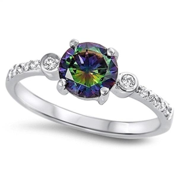 زفاف - 925 Sterling Silver 2.10 Carat Round Mystic Rainbow Topaz Bezel Set Russian Diamond CZ Wedding Engagement Anniversary Ring Dazzling Accent