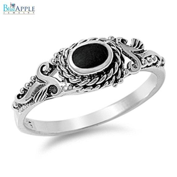 زفاف - Oval Elegant Romantic Forever Love Oval Synthetic Black Onyx Ring Leaf Solid 925 Sterling Silver Oval Black Onyx Ladies Promise Ring