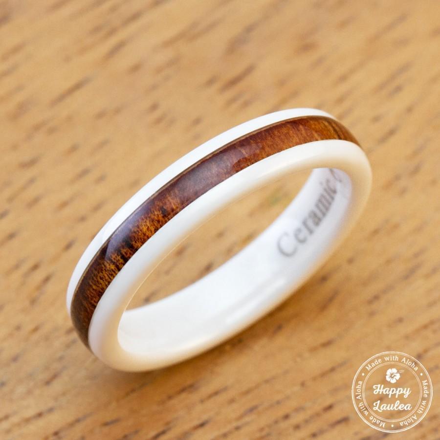 Mariage - White Ceramic Ring with Hawaiian Koa Wood Inlay (4mm width, barrel style)