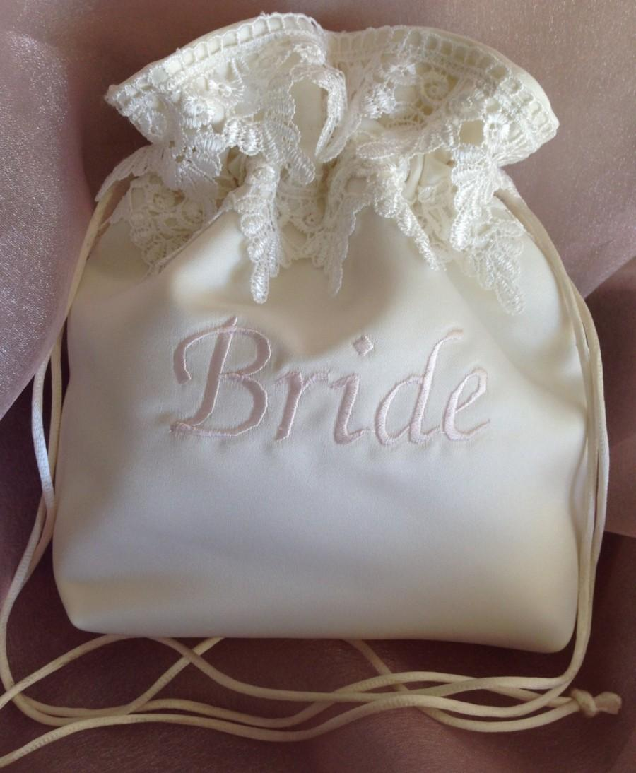 WEDDING BRIDAL Ivory Embroidered Drawstring Bag, Keepsake/Heirloom ...