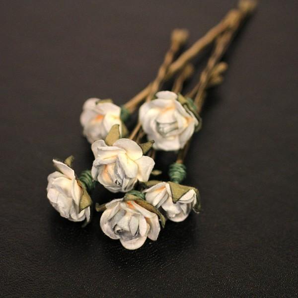 f107225a6201 Moon Light Rose Bridal Hair Accessories Wedding Hair Flower - Blue Gray  Paper Flower Bobby Pin - Set of 6