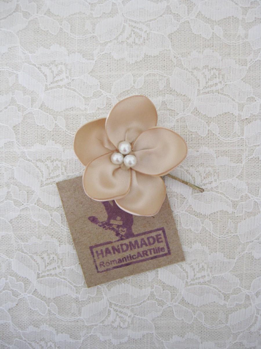 زفاف - Champagne Flower Hair Piece. Champagne Flower Pin. Bridesmaid Champagne Hair Flower.