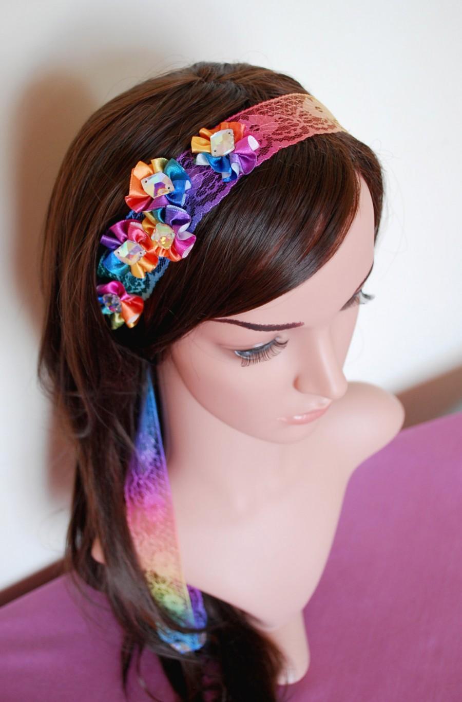 Hochzeit - Rainbow headpiece, Rainbow wedding, Rainbow Headband, colour band, rainbow flower headband, gay, lace rainbow, colour spectrum hair band,