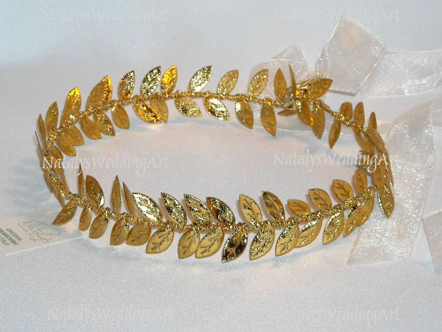زفاف - Laurel Wreath Gold Headband Crown Halo Gold Leaf Headpiece  Headband Wedding Crown Wreath