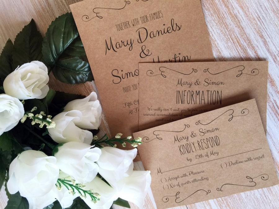 DIY Wedding Invitation Template Suite, Kraft Paper Swashes ...