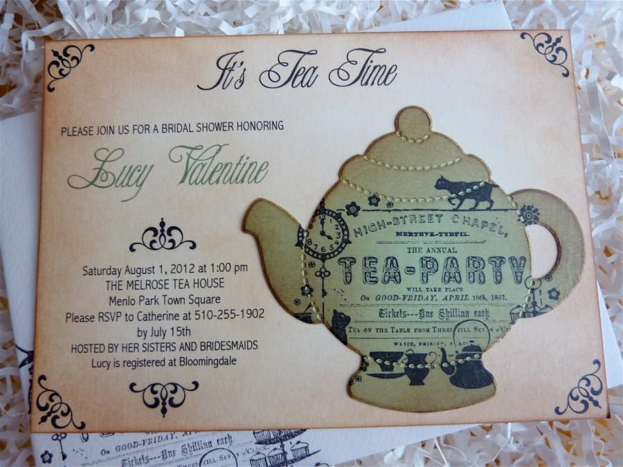 Bridal Tea Party Invitation, High Tea Shower Invite, English Tea ...