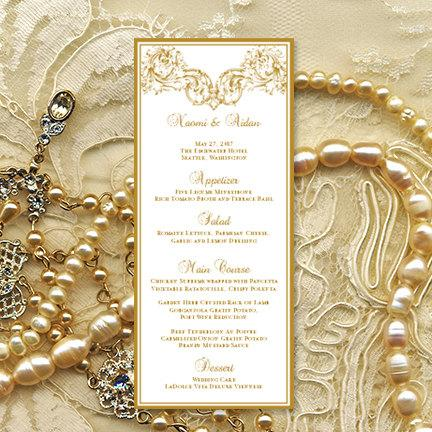 "Hochzeit - Printable Wedding Menu Template  ""Vienna"" in Gold Microsoft Word Editable Text Instant Download Order in Any Color DIY You Print"