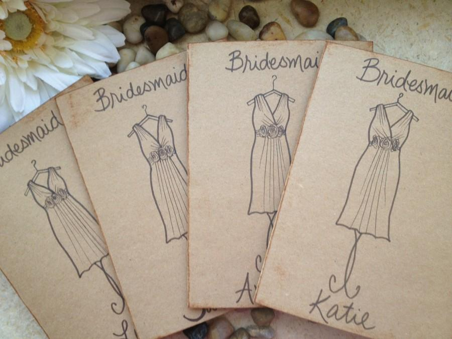 Hochzeit - Bridesmaid Cards Thank you for Being My Bridesmaid Will You Be My Maid of Honor Wedding Card Personalized THEIR Dress SET of 6 Rustic
