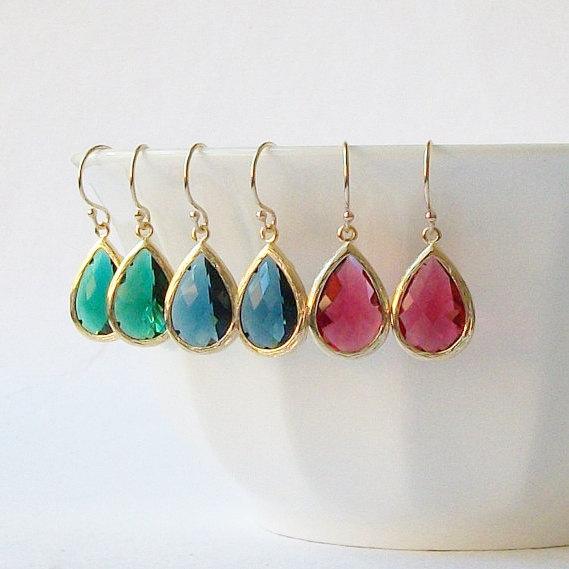 زفاف - Emerald Green Sapphire Blue Ruby Garnet Crystal Drop Earrings. Christmas Jewelry Gift