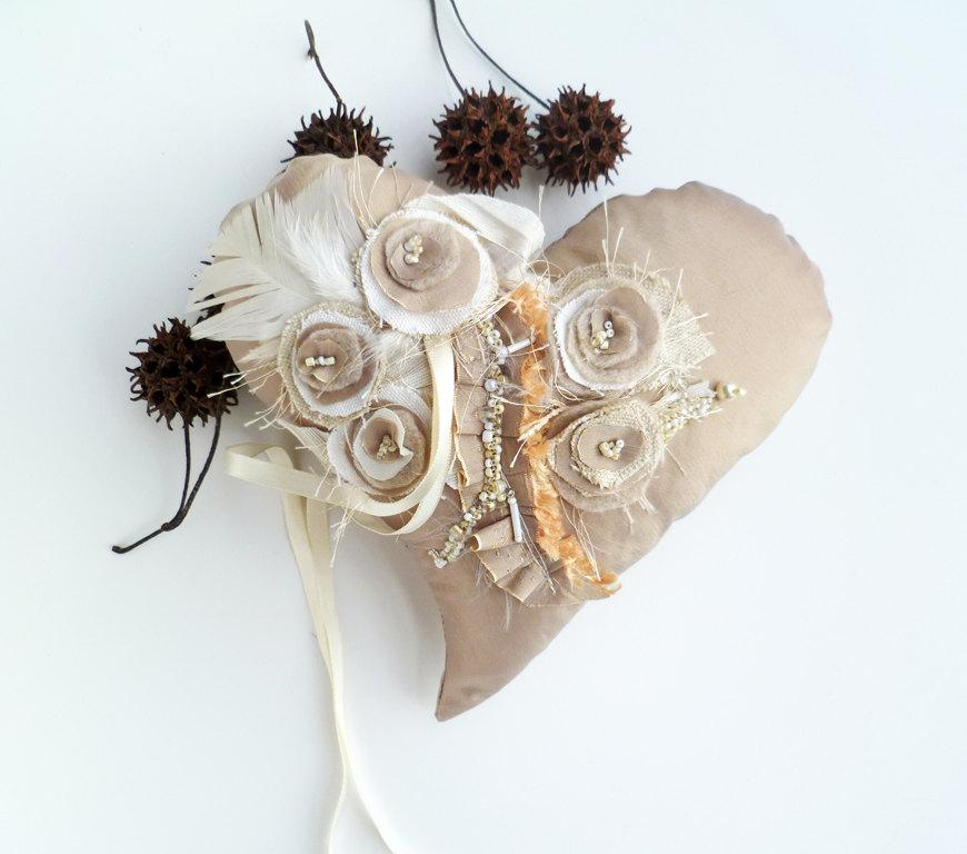 زفاف - Beige heart II, wedding ring heart pillow, unique fiber art, fabric collage, romantic, home decor, flowers and feathers, wedding decor
