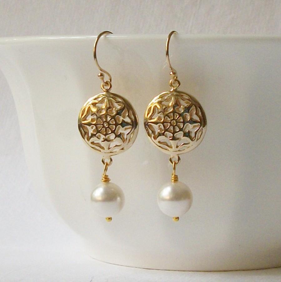 Wedding - Pearl Compass Earrings, Christmas Jewelry Gift