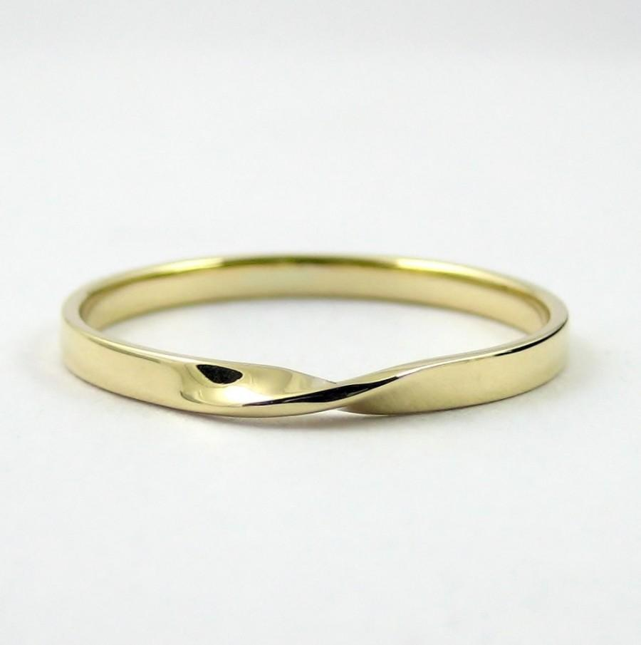 Gold Mobius Ring Infinity Hallmarked Solid Twisted Band Wedding Promise Modern 9k