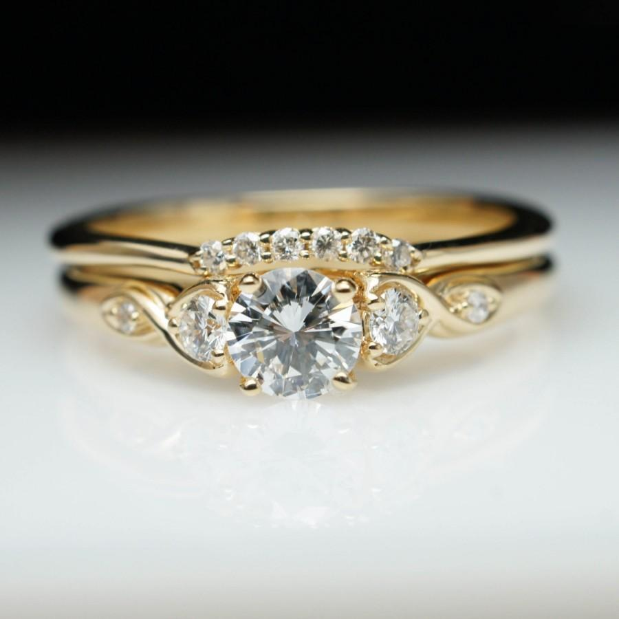 vintage antique style diamond engagement ring wedding band set vintage style yellow gold engagement ring round diamond bridal set petite - Engagement Ring And Wedding Band Set