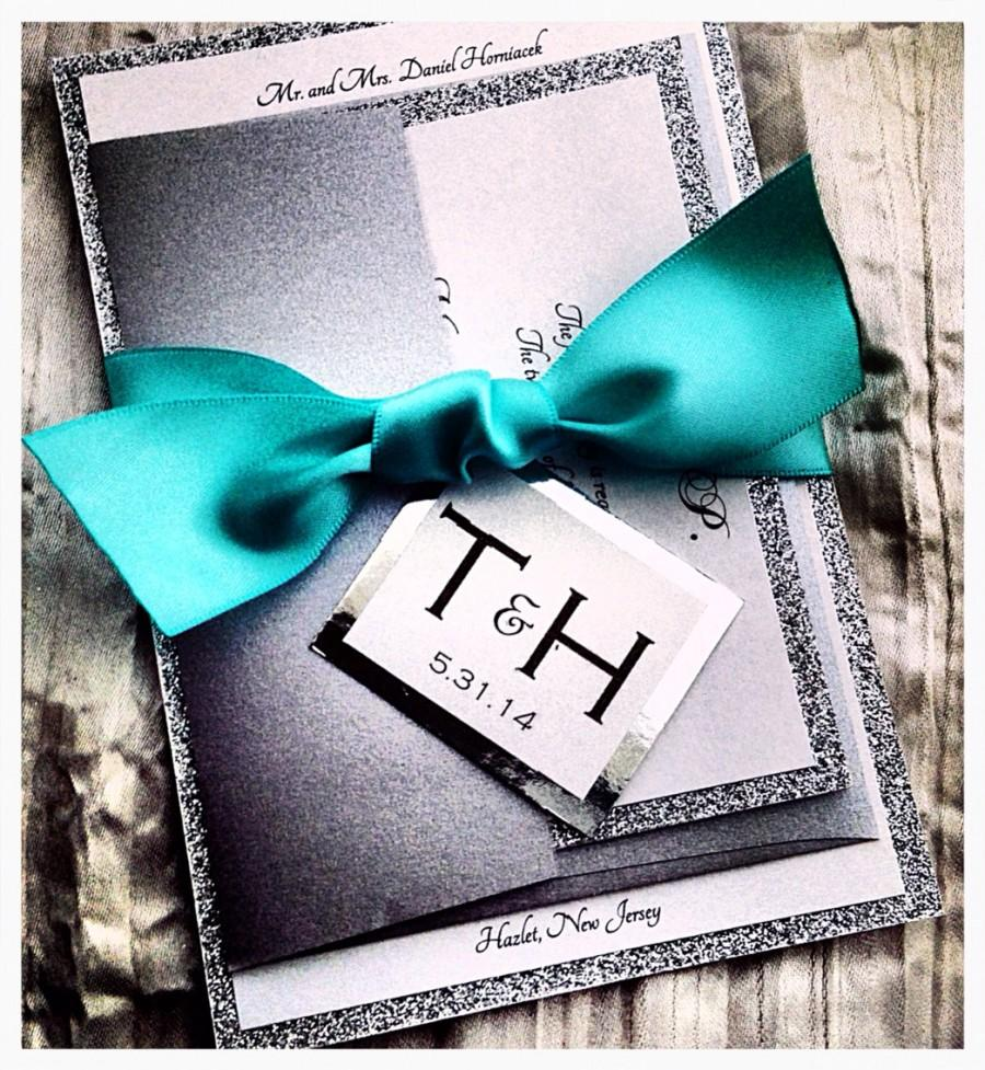 Hochzeit - Teal Wedding Invitations, Silver Glitter Wedding Invitation and RSVP Set with Ribbon Belly Band