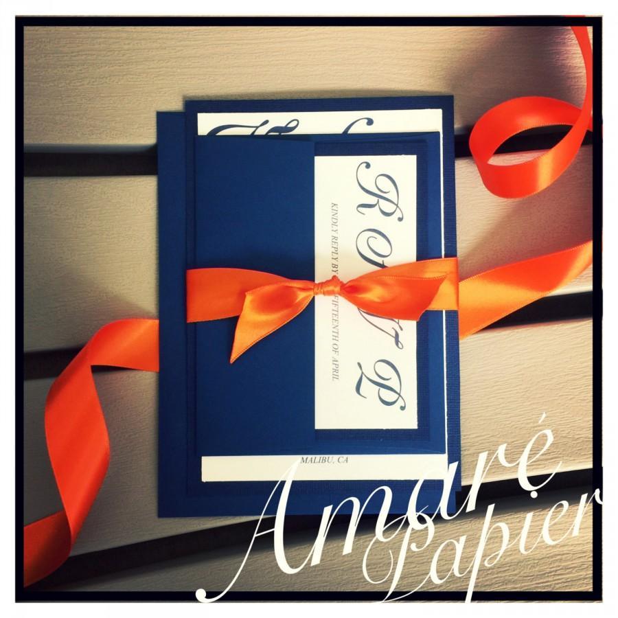 زفاف - wedding invitations, navy blue wedding invitation, tangerine wedding invitations, calligraphy script wedding invitation with ribbon belt