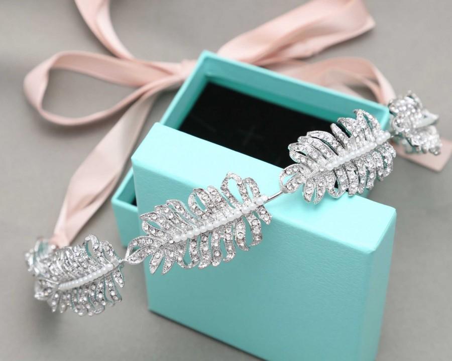 Crystal Feather Bridal Tiara, Ribbon Headband, Swarovski Crystal ...