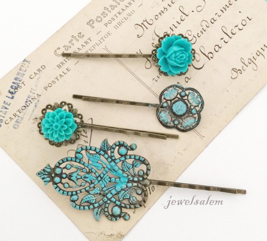 زفاف - Teal Wedding Floral Hair Pins Turquoise Aqua Blue Flower Hair Slide Vintage Style Bridal Bobby Pin Set of 4 Bridesmaids Flower Girls Party
