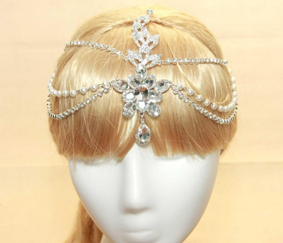 زفاف - Wedding Rhinestone Crystal Bridal Tiara, Pearl Draping Hair Tikka, Chain Pageant, Pearl Hair Chain, Wedding Hair Clips, Vintage Hair Wrap