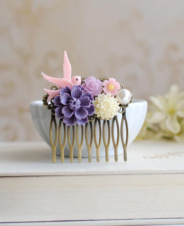 زفاف - Pink Bird Purple Chrysanthemum Pearl Ivory Daisy Flower Collage Hair Comb. Floral Filigree Comb, Purple Wedding Bridal Comb, Bridesmaid Gift