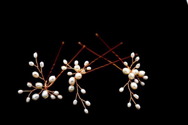 زفاف - Set of 3 Freshwater Pearl Flower Hair Pins - Permanent Gold plated wire