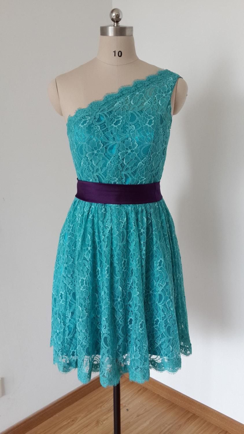2015 One-shoulder Teal Lace Short Bridesmaid Dress With Dark Purple ...