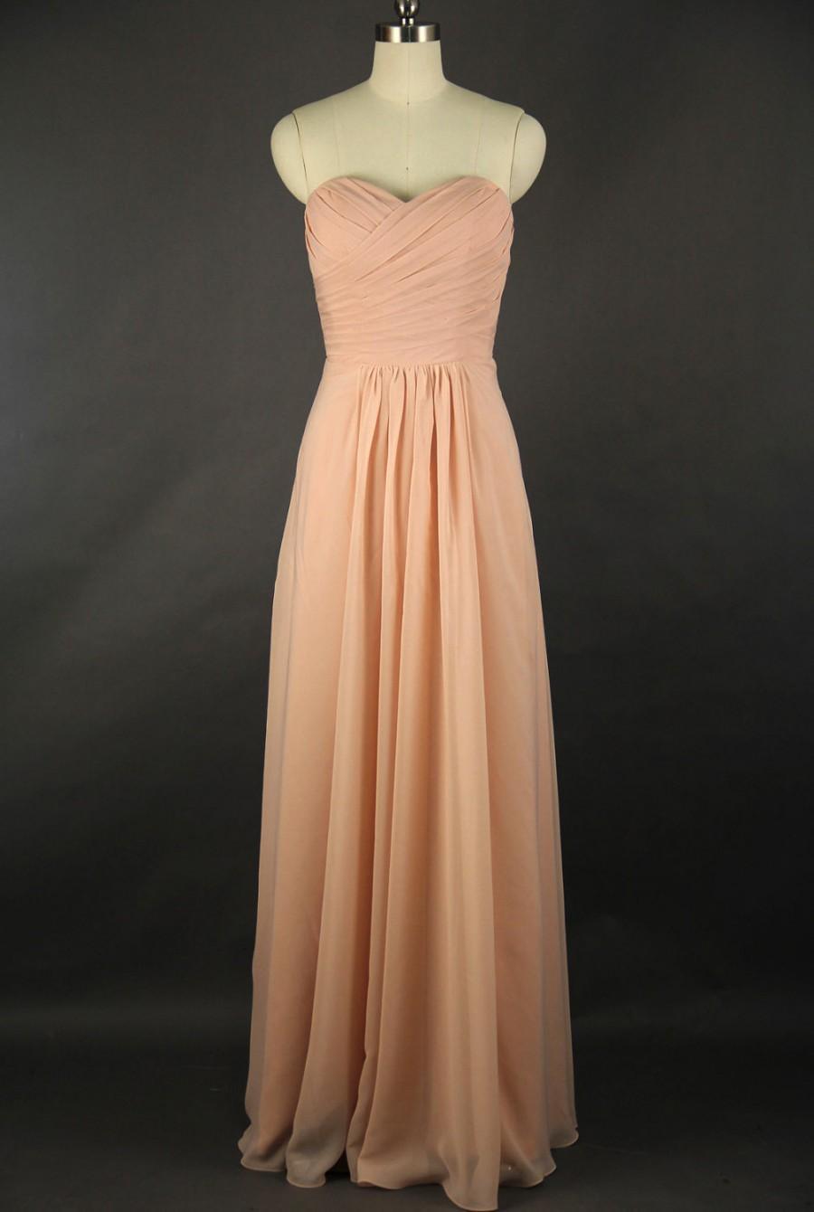Düğün - Sweetheart Bridesmaid Dress, A-line Floor-length Chiffon Bridesmaid Dress, Pearl Pink Bridesmaids Dress