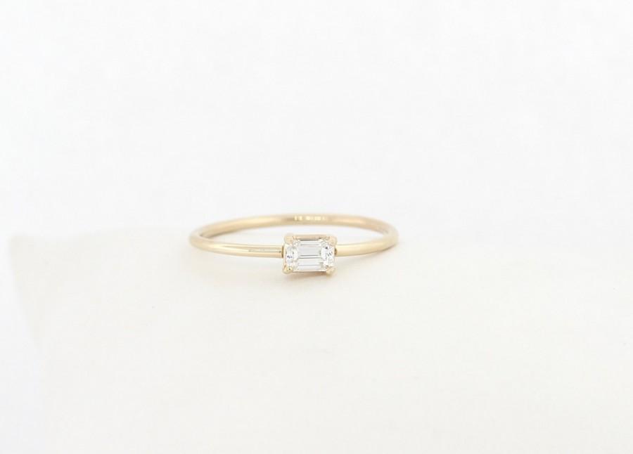 زفاف - Emerald Diamond Engagement Ring, Diamond Engagement Ring, Emerald Diamond Ring, Emerald Shape Diamond Engagement Ring, 14K Engagement Ring