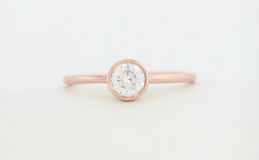 Wedding - Round Brilliant Cut Diamond Engagement Ring, Rose Gold Thin Dainty Bezel Set Engagement Ring, Diamond Engagement Ring,Certified Diamond Ring