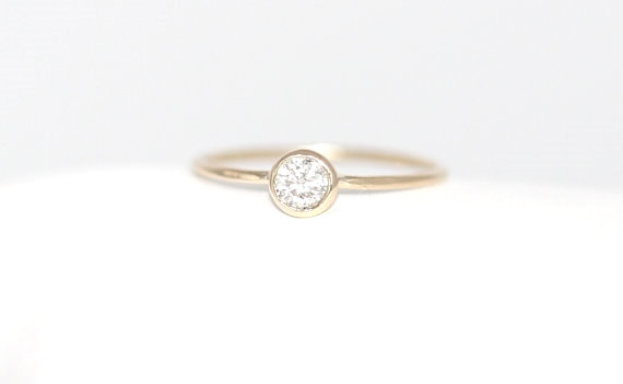 Wedding - Round Brillaint Cut Diamond Engagement Ring, 14K Solid Gold Thin Bezel Set Engagement Ring, Stacking 14K Diamond Ring, Bezel Ring