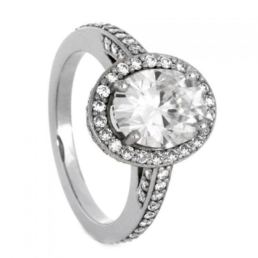 Свадьба - Palladium Engagement Ring with Halo Style Moissanites