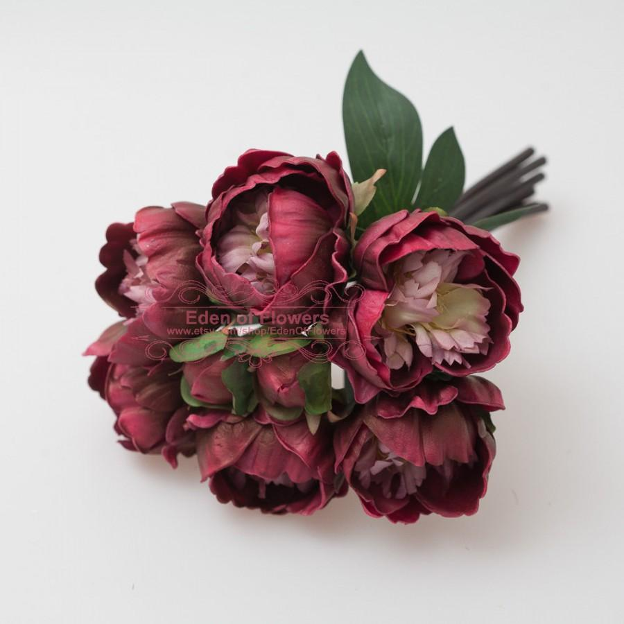 Burgundy Peony Wine Red Bouquet For Wedding Bridal Bouquets For Home Decoration Marsala Autumn