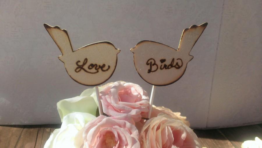 Свадьба - wood wedding cake topper, rustic wedding, love birds cake topper