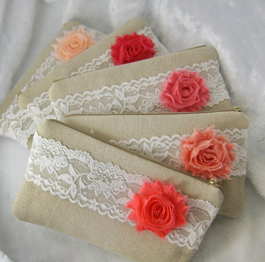 Wedding - Set of 10 Bridesmaid clutch, cotton linen lace clutch, wedding purse bag (Ref: CL900) CHOOSE your color