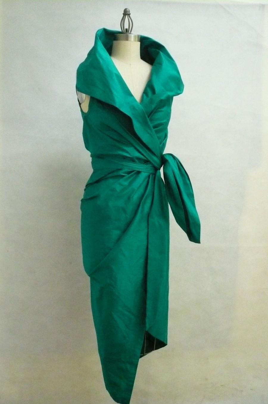 Wedding - Maria Severyna Emerald Dupioni Wrap Dress