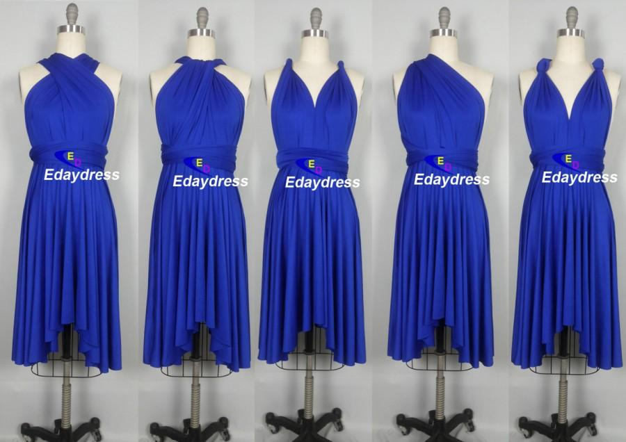 78286ae9ede Wedding Dress Short Bridesmaid Dress Infinity Dress Royal Blue Knee Length  Wrap Convertible Dress