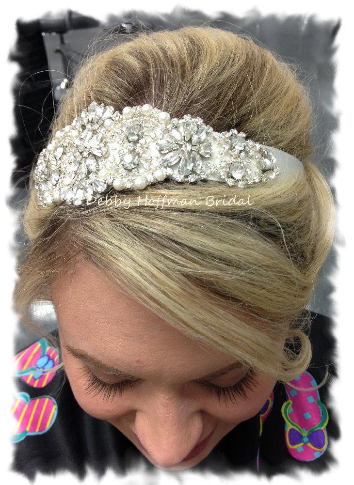 زفاف - Bridal Headband, Crystal Pearl Wedding Hair Piece, Wedding Headband, Pearl Bridal Headpiece, Wedding Bridal Jeweled Head Piece, No. 4060HB