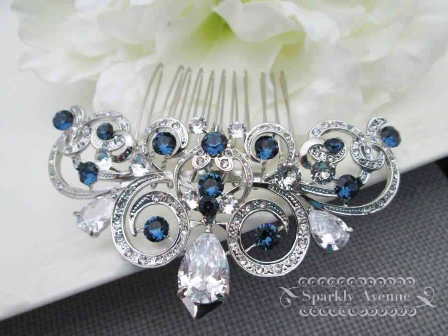 Wedding - Something Blue Hair Comb Cubic Zirconia Hair Comb Montana Swarovski Clip Blue Bridal Hair Clip Wedding Accessories Art Deco Hair Comb Ally