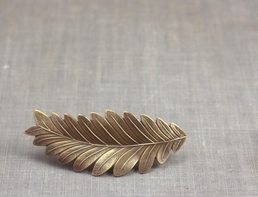 Hochzeit - Leaf barrette grecian bridal goddess brass neoclassical bride hair clip bronze wedding hair