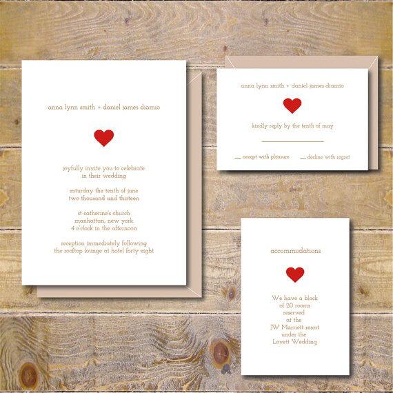 Wedding - Wedding Invitation Suite, Recycled Wedding Invitations, Heart Wedding Invitations, Wedding Invitation Set, Summer Wedding  Sweetheart