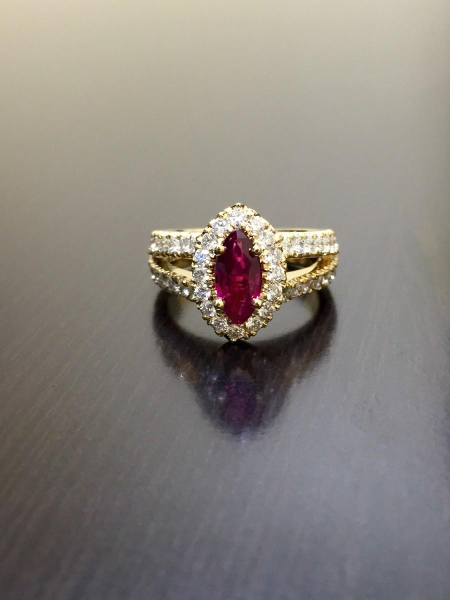 18k yellow gold ruby diamond engagement ring 18k gold diamond marquise ruby wedding ring 18k halo ruby diamond ring 18k halo ruby ring - Ruby Wedding Ring