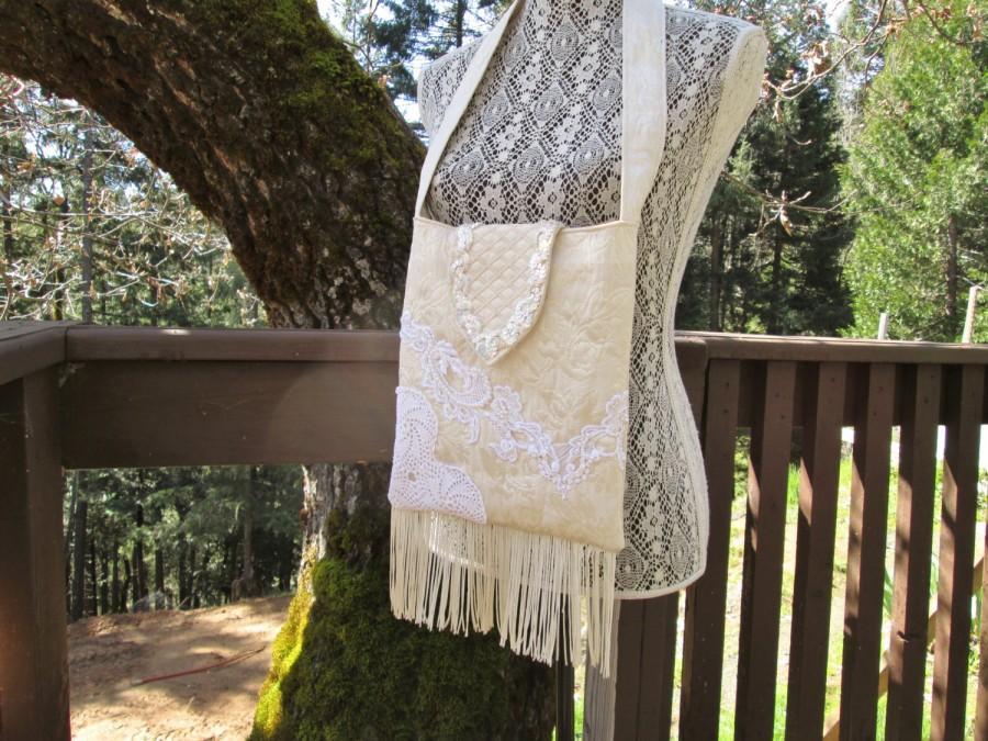 Wedding - Shabby Chic Gypsy Boho Mori Girl Brocade Fringe Lace Wedding Purse