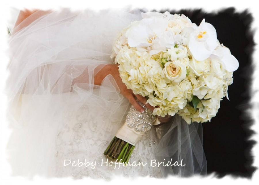 Boda - Beaded Rhinestone Crystal Bridal Bouquet Wrap, Jeweled Wedding Bouquet Cuff, Crystal Bridal Bouquet Wrap, No. 1101BW, Wedding Accessories
