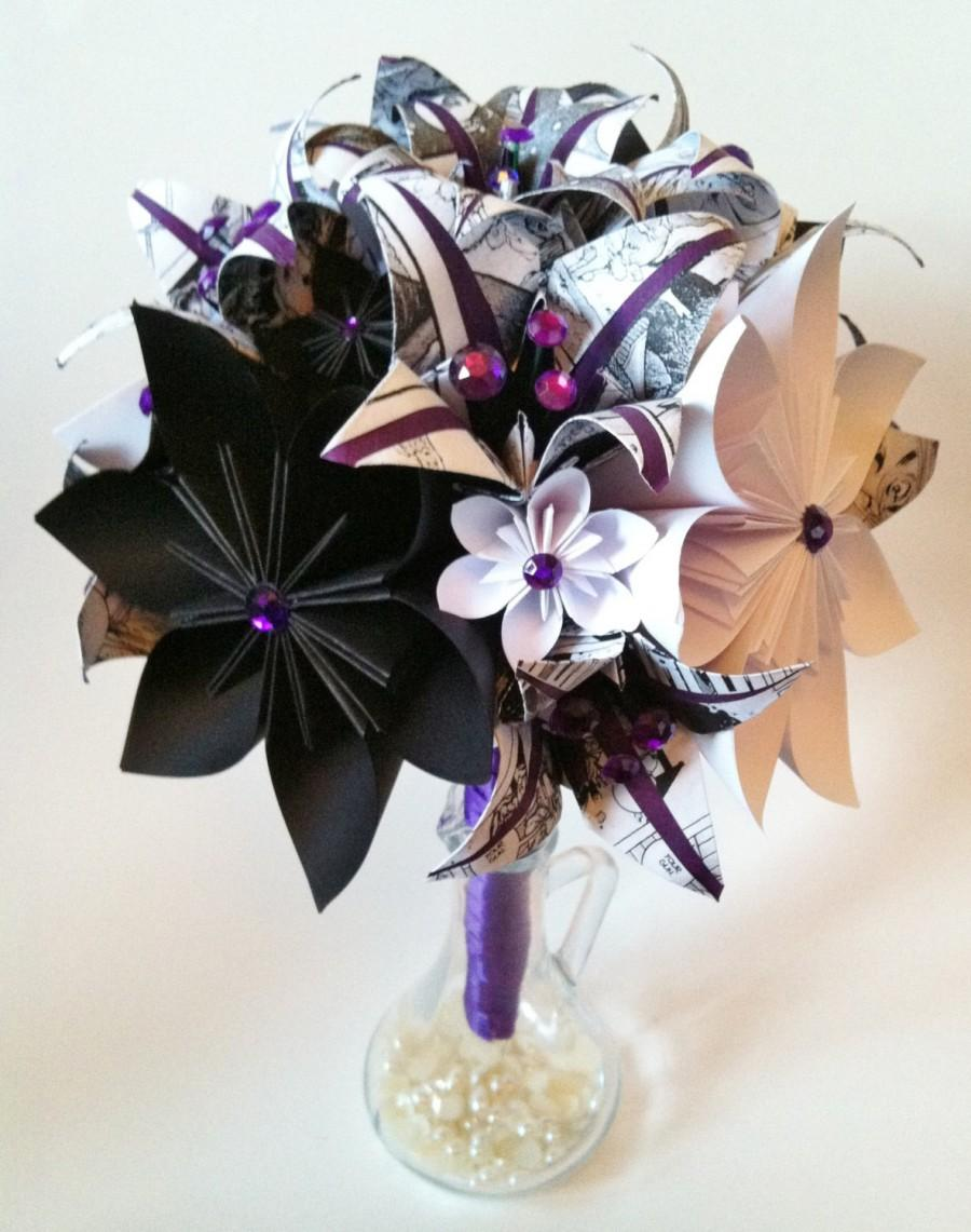 Comic book bridal bouquet paper flowers lilies one of a kind comic book bridal bouquet paper flowers lilies one of a kind origami made to order alternative wedding bouquet purple black white dhlflorist Image collections