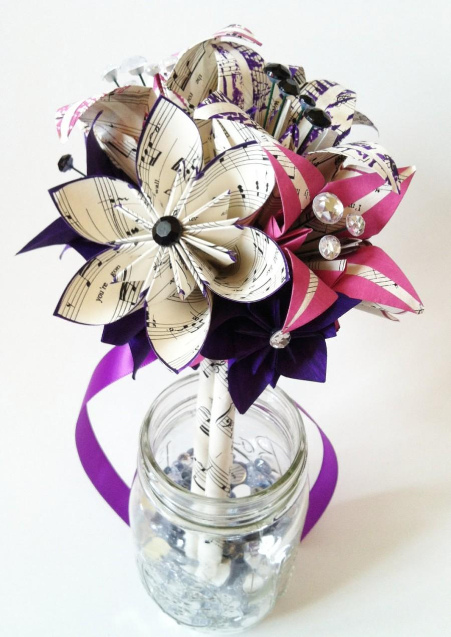Bridesmaid Flowers & Lilies Paper Bouquet- 7 Inch, 15 Flowers, One ...
